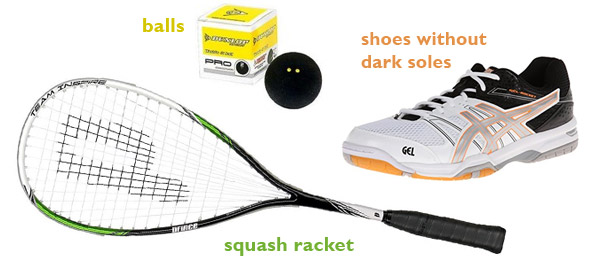 squash racket, balls and shoes